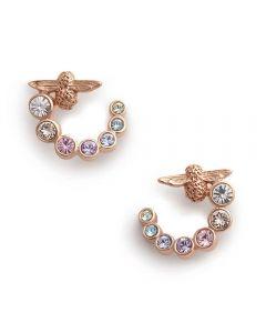 Olivia Burton Rainbow Bee Rose Gold Plated Swirl Hoop Earrings OBJAME126