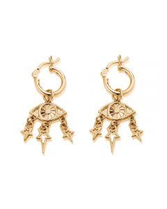 ChloBo Splendid Star Gold-plated Stardust Hoop Earrings GEH2067