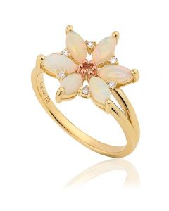 Clogau 9ct Gold Snowdon Lily Opal Ring OSLR