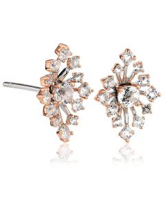 Clogau Silver 9ct Rose Gold Two Colour White Topaz Celebration Sparkle Stud Earrings CFWE