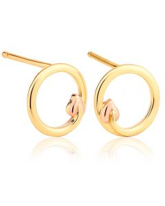 Clogau 9ct Gold Two Colour Tree Of Life Circle Stud Earrings TOLE7