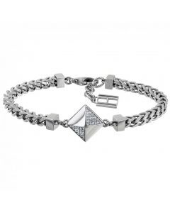 Tommy Hilfiger Stainless Steel Crystal Diamond Shaped Box Chain Bracelet 2780093