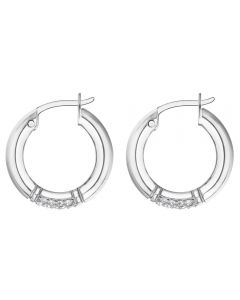 Tommy Hilfiger Stainless Steel Crystal Hoop Earrings 2780211