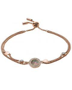 Fossil Classics Rose Gold Plated Black Mother Of Pearl Cubic Zirconia Toggle Bracelet JF02951791