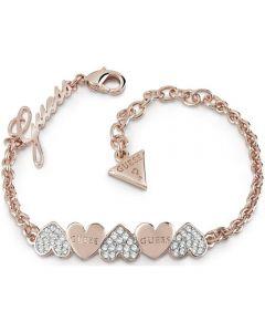 Guess Heart Bouquet Rose Gold Plated Crystal Heart Bracelet UBB85102-L