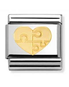 Nomination CLASSIC Gold Love Heart With Puzzle Charm 030116/18