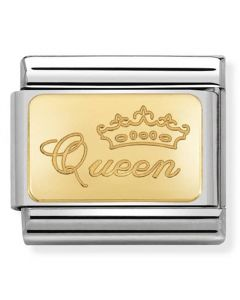 Nomination CLASSIC Gold Engraved Signs Queen Charm 030121/49