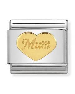 Nomination CLASSIC Gold Symbols Mum Heart Charm 030162/38