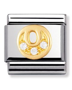 Nomination CLASSIC Gold Letters Cubic Zirconia O Charm 030301/15