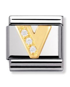 Nomination CLASSIC Gold Letters Cubic Zirconia V Charm 030301/22