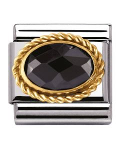 Nomination CLASSIC Gold Faceted Black Cubic Zirconia Charm 030602/011