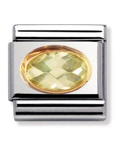 Nomination CLASSIC Gold Oval Faceted Lime Stone Charm 030601/025