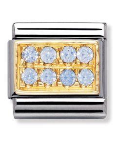 Nomination CLASSIC Gold Pavé Light Blue Cubic Zirconia Charm 030314/05