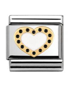 Nomination CLASSIC Gold Pois Black Polka Dot Heart Charm 030283/03