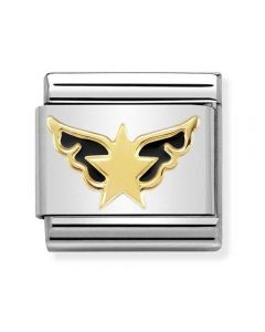 Nomination CLASSIC Gold Symbols Black Angel Of Stars Charm 030272/34