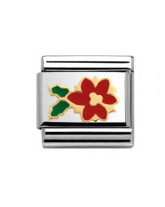 Nomination CLASSIC Gold Poinsettia Flower with Red & Green Enamel Charm 030225/20