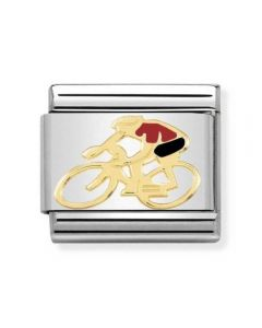 Nomination CLASSIC Gold Sports Red Enamel Cyclist Charm 030259/14