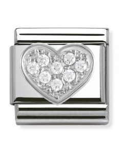 Nomination CLASSIC Silvershine White CZ Heart Charm 330304/01