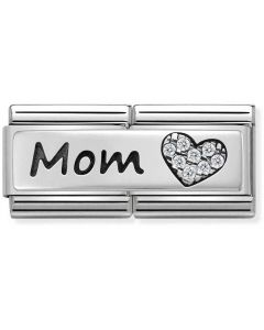 Nomination CLASSIC Silvershine Double Link Heart Mom Charm 330731/06