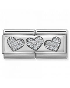 Nomination CLASSIC Silvershine Double Link 3 Hearts Charm 330732/02