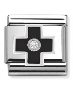 Nomination CLASSIC Silvershine Black Cross Charm 330305/03