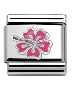 Nomination CLASSIC Silvershine Honolulu  Pink Hibiscus Charm 330202/24