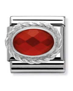 Nomination CLASSIC Silvershine Ornate Settings Red Agate Charm 330503/28