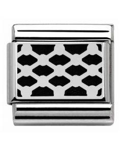Nomination CLASSIC Silvershine Black Grid Pattern Charm 330103/03