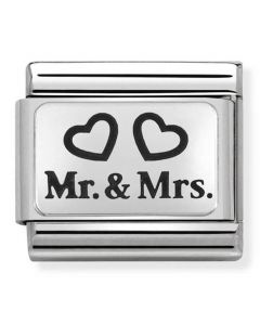 Nomination CLASSIC Silvershine Plates Mr and Mrs Charm 330109/01