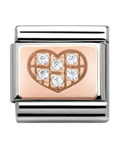 Nomination CLASSIC Rose Gold Heart With Cubic Zirconia Charm 430302/01