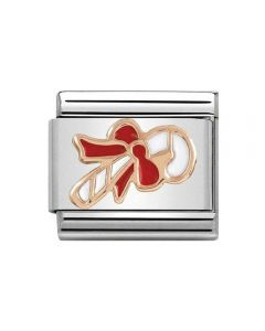 Nomination CLASSIC Rose Gold Candy Cane with White & Red Enamel Charm 430203/04