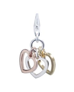 Thomas Sabo Silver Gold Plated Triple Open Heart Charm 0959-431-12