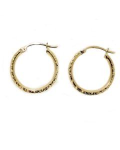 9ct Gold Diamond Cut Creole Earrings 1-53-8419