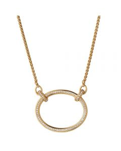 Links of London Ovals Gold Vermeil White Topaz Open Oval Necklace 5020.3893