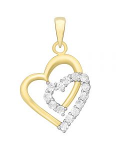9ct Clear Cubic Zirconia Double Heart Pendant 1.63.1454