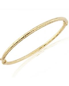 9ct Engraved Zigzag Oval Hinged Bangle BN402