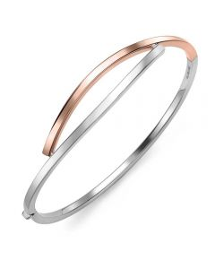 9ct Two Colour Gold Cross Over Bangle BN490