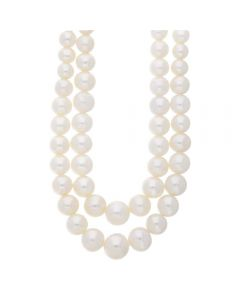 9ct Yellow Gold Two Strand Graduated Freshwater Pearl Necklace POZ827SD/FW