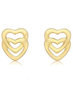 9ct Yellow Gold Entwined Heart Stud Earrings 1.55.7529