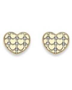9ct Yellow Gold Patterned Cubic Zirconia Heart Stud Earrings SE597