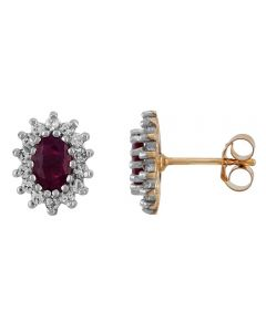 9ct Yellow Gold Oval-cut Ruby Red and White Cubic Zirconia Cluster Stud Earrings 8156/RCZ