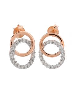 9ct Rose And White Gold Cubic Zirconia Double Open Circle Earrings E5768Z-9M-000Z