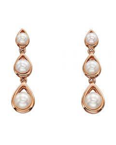 9ct Rose Gold Triple Pearl Dropper Earrings GE2133W