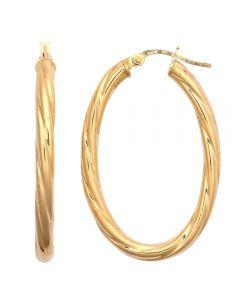 9ct Yellow Gold Oval Twist Hoop Earrings ER1873