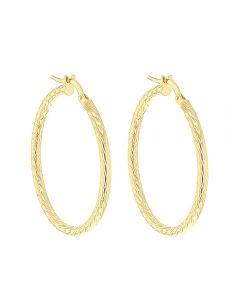 9ct Yellow Gold 30mm Diamond Cut Creole Earrings 1.53.4819