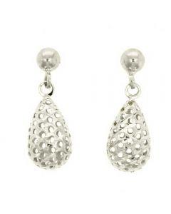 9ct White Gold Openwork Teardrop Earrings 10.07.101