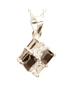 T H Baker Silver Black and Clear CZ Square Pendant PZ-426-N-1066-45