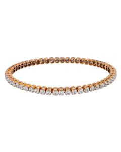 Sterling Silver Gold Plated Four Claw Cubic Zirconia Tennis Bracelet NTB1029-Y