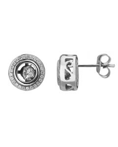 Sterling Silver Floating Round Cubic Zirconia Stud Earrings ME01460Z-CZ