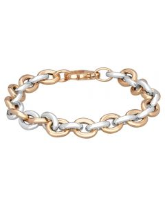 Sterling Silver And Rose Gold Plated Small Oval Link Bracelet NTB156-S/R
